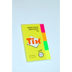 Samolepící záložky TIX NEON 20 x 50 mm/4 x 40lístků